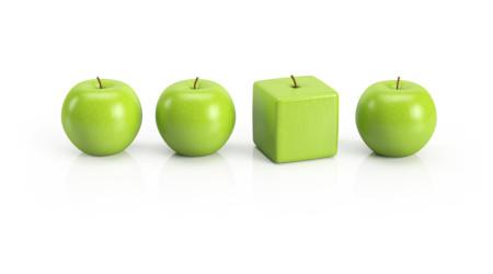 Anders sein, Individualitt, Einzigartigkeit, Persnlichkeit  grne pfel in einer Reihe
