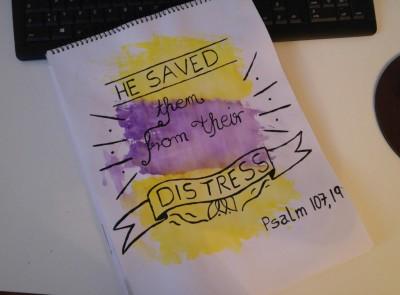 Psalm 107, 19 Lettering
